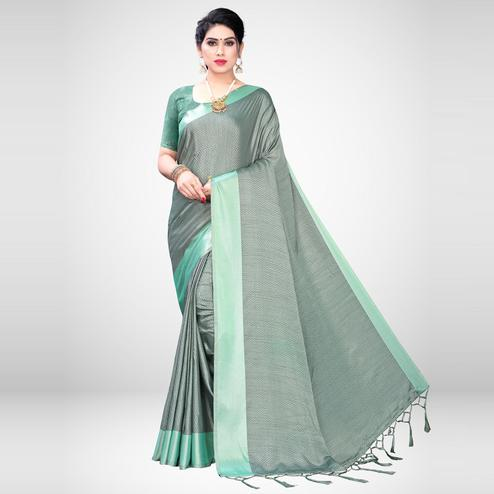 Refreshing Light Green Colored Festive Wear Woven Satin Saree