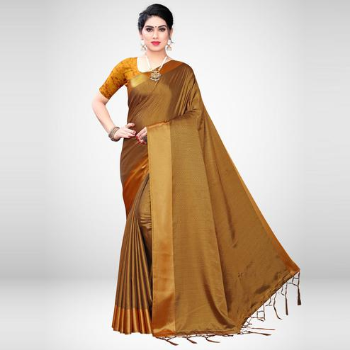 Magnetic Mustard Colored Festive Wear Woven Satin Saree