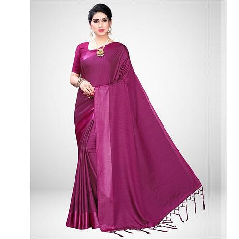 Hypnotic Magenta Colored Festive Wear Woven Satin Saree