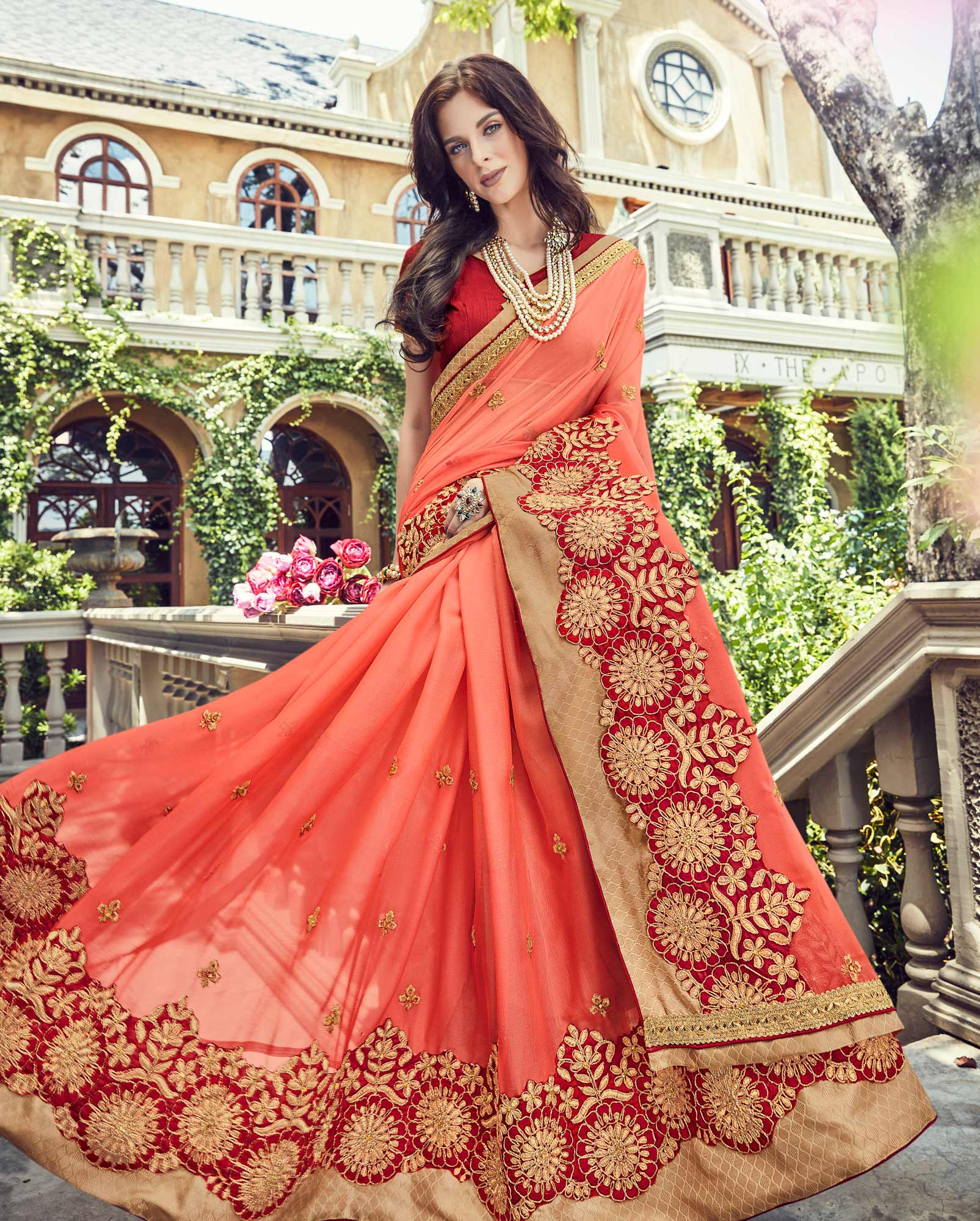 Stunning Dark Peach Embroidered Designer Saree