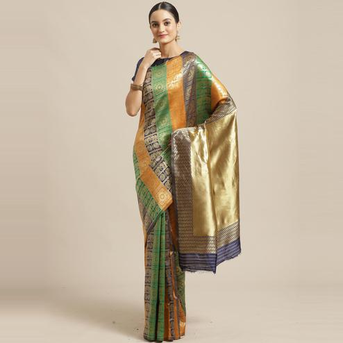 Excellent Multi Colored Festive Wear Woven Silk Blend Saree
