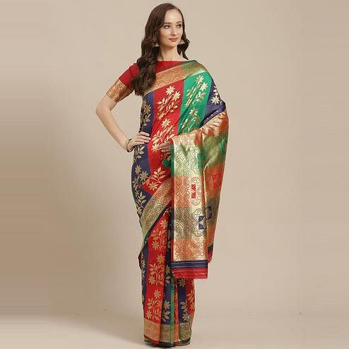 Preferable Multi Colored Festive Wear Woven Silk Blend Saree