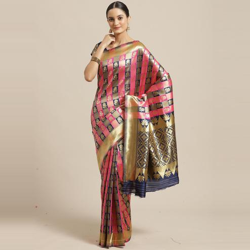 Marvellous Navy Blue - Pink Colored Festive Wear Woven Silk Blend Saree