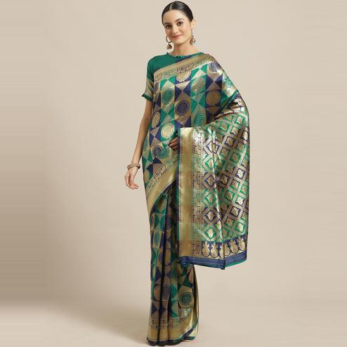 Flamboyant Navy Blue - Teal Green Colored Festive Wear Woven Silk Blend Saree