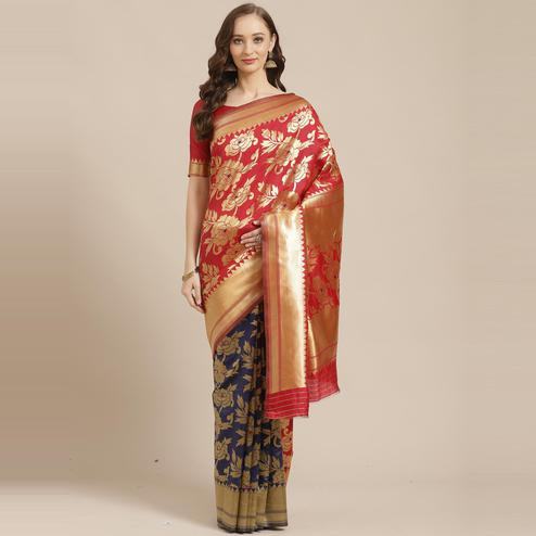 Pretty Red - Navy Blue Colored Festive Wear Woven Silk Blend Saree