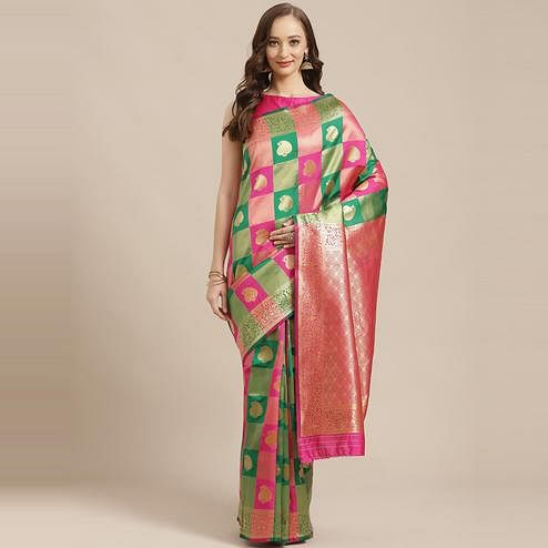 Alluring Green - Pink Colored Festive Wear Woven Silk Blend Saree