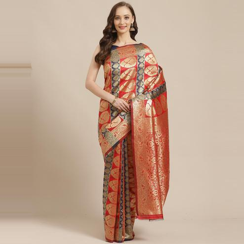 Sensational Red - Navy Blue Colored Festive Wear Woven Silk Blend Saree