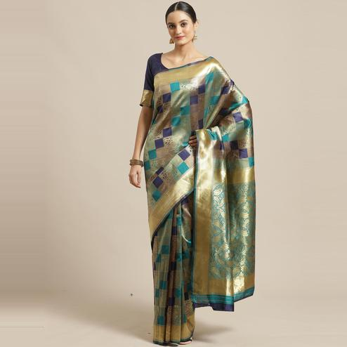 Flaunt Teal Green - Navy Blue Colored Festive Wear Woven Silk Blend Saree