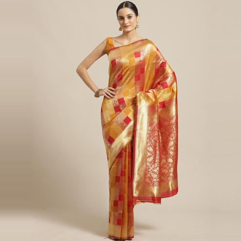 Stunning Red - Mustard Colored Festive Wear Woven Silk Blend Saree