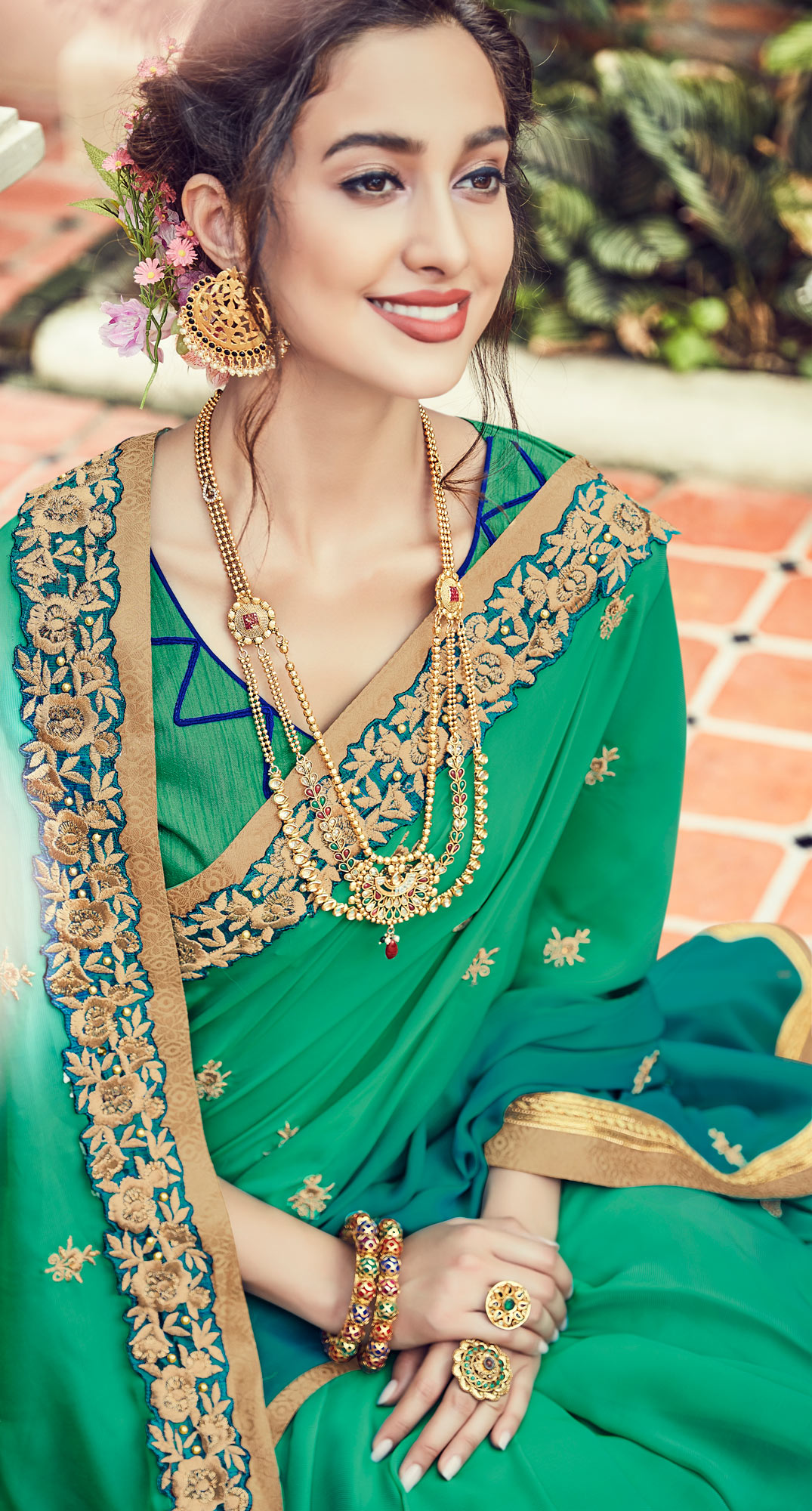 Classy Shaded Green Embroidered Designer Saree
