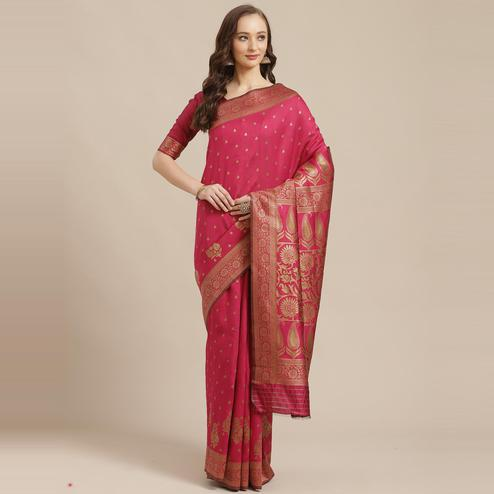 Flirty Pink Colored Festive Wear Woven Silk Blend Saree