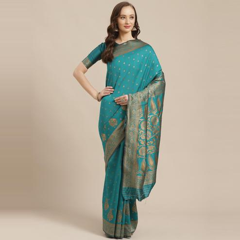 Adorable Teal Green Colored Festive Wear Woven Silk Blend Saree