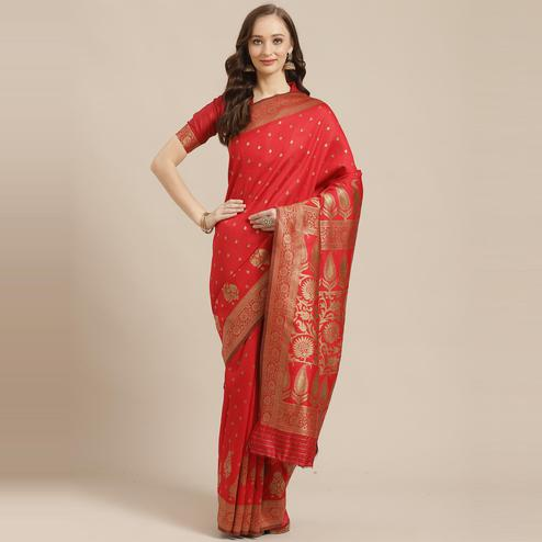 Glorious Red Colored Festive Wear Woven Silk Blend Saree