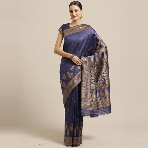 Attractive Navy Blue Colored Festive Wear Woven Silk Blend Saree