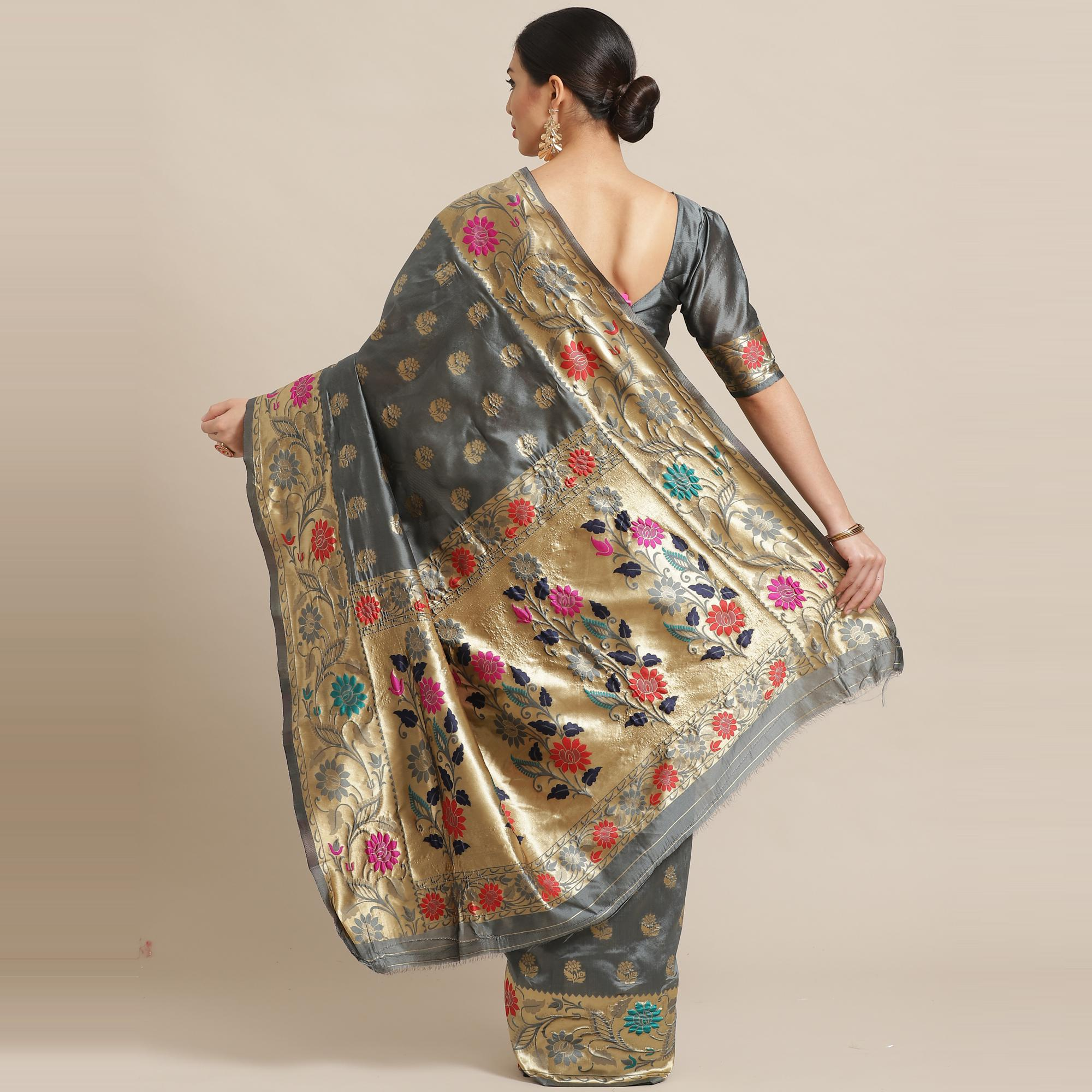 Jazzy Grey Colored Festive Wear Woven Silk Blend Banarasi Saree