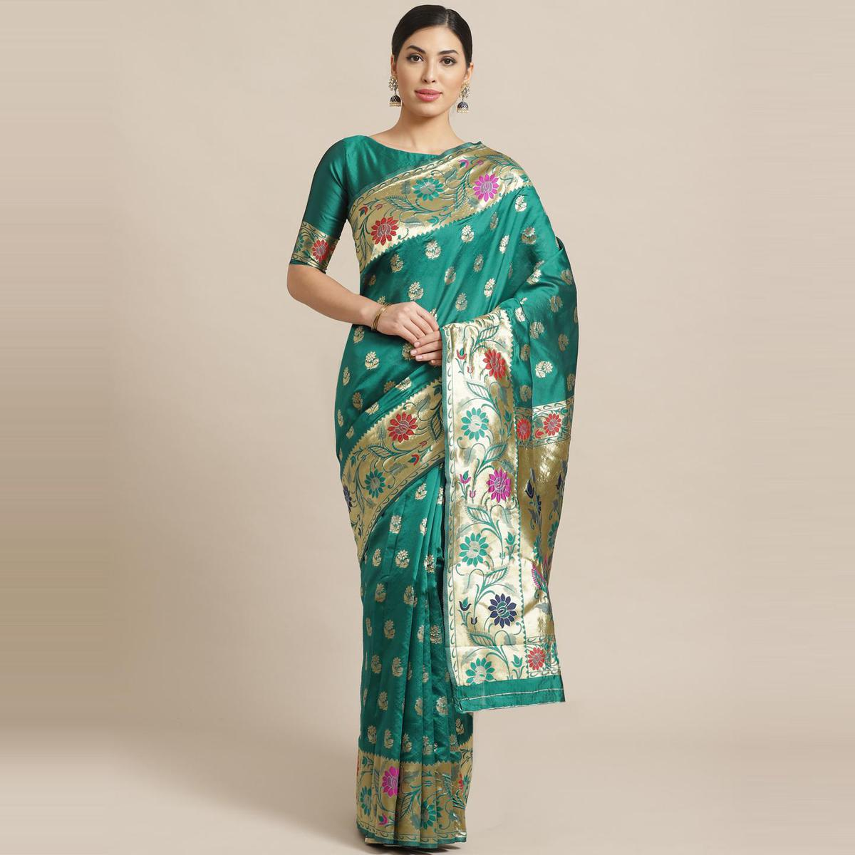 Delightful Green Colored Festive Wear Woven Silk Blend Banarasi Saree