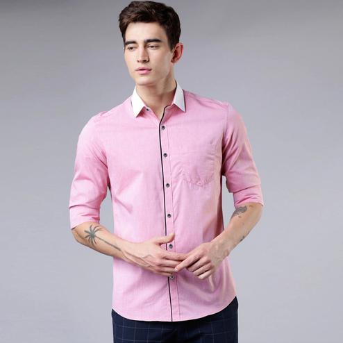 Impressive Pink Colored Casual Wear Pure Cotton Shirt