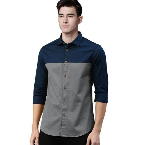 Elegant Grey Colored Casual Wear Pure Cotton Shirt