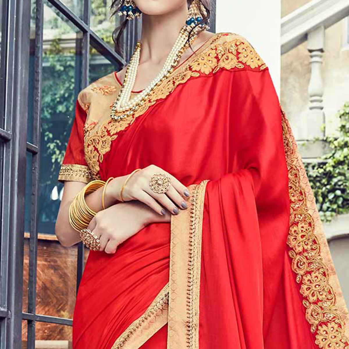 Gorgeous Deep Red Embroidered Designer Saree