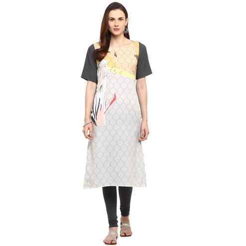 Ahalyaa - White Colored Casual Digital Printed Crepe Kurti