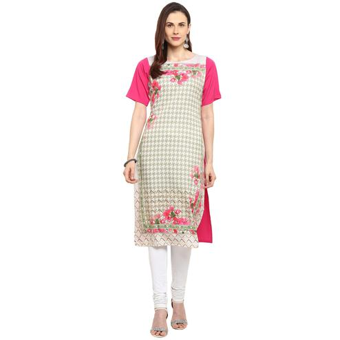 Ahalyaa - Multi Colored Casual Digital Printed Crepe Kurti