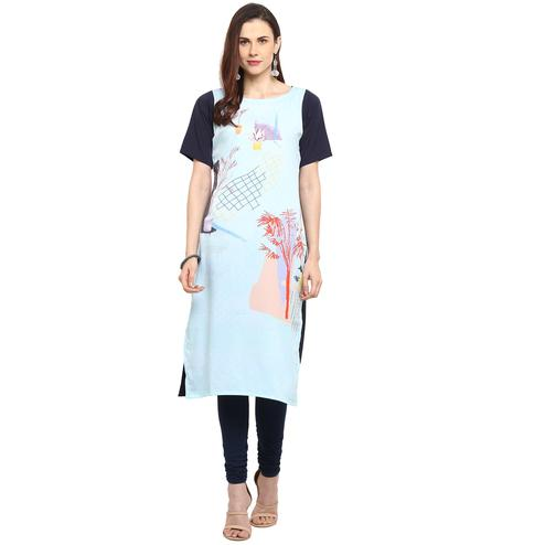 Ahalyaa - Light Blue Colored Casual Digital Printed Crepe Kurti