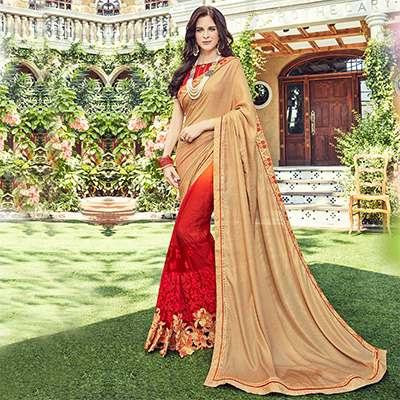 Red - Beige Embroidered Half - Half Saree