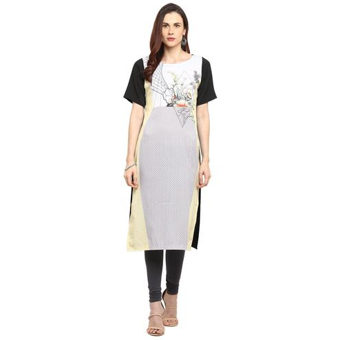 Ahalyaa - Grey Colored Casual Digital Printed Crepe Kurti