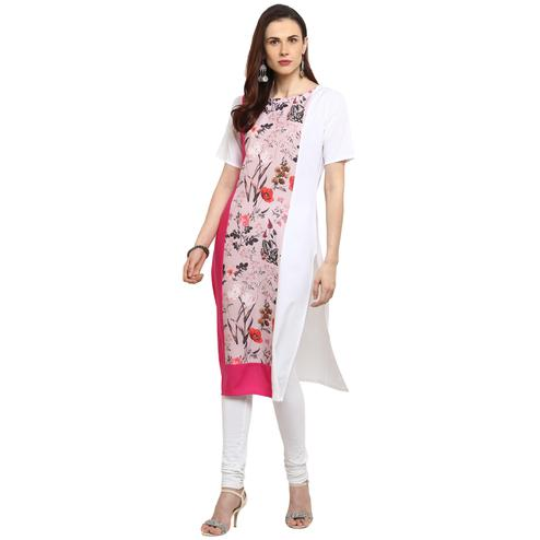 Ahalyaa - Pink Colored Casual Digital Printed Crepe Kurti
