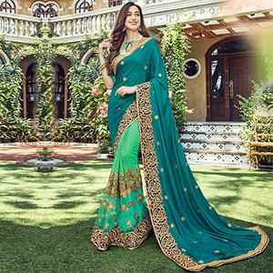 Graceful Shaded Green Embroidered Half - Half Saree