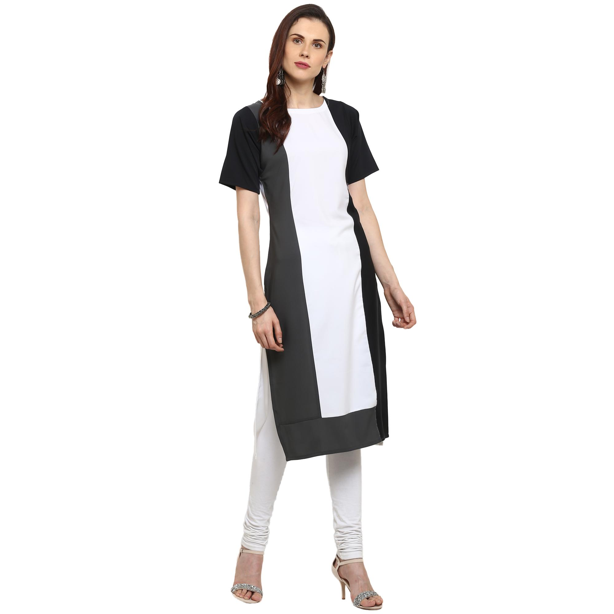 Ahalyaa - White Colored Casual Solid Crepe Kurti