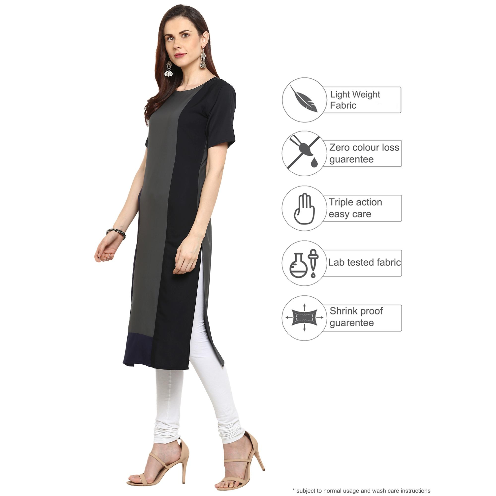 Ahalyaa - Grey Colored Casual Solid Crepe Kurti