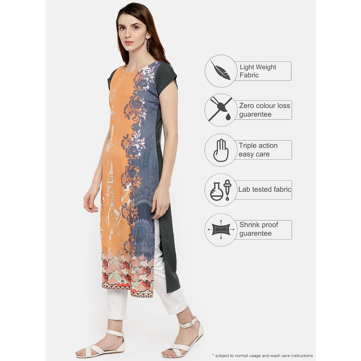 Ahalyaa - Orange Colored Casual Digital Printed Crepe Kurti
