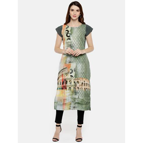 Ahalyaa - Green Colored Casual Digital Printed Crepe Kurti