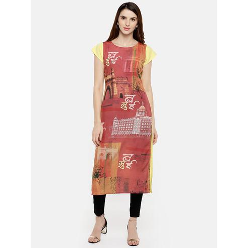 Ahalyaa - Red Colored Casual Digital Printed Crepe Kurti