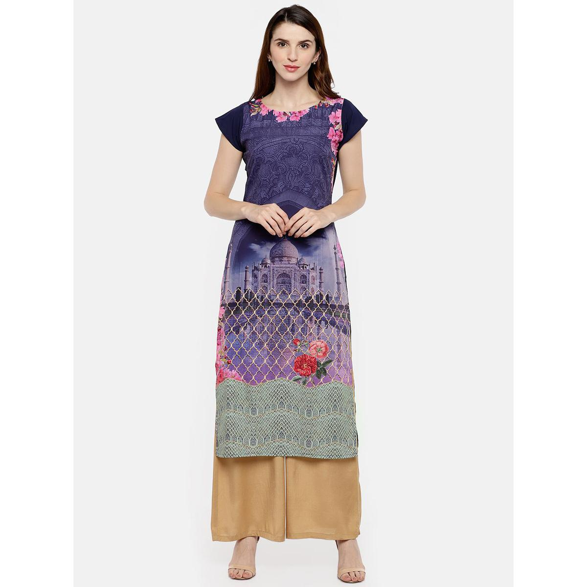Ahalyaa - Purple Colored Casual Digital Printed Crepe Kurti