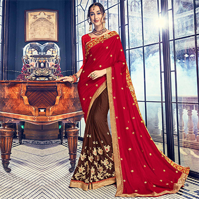 Marvelous Brown - Red Embroidered Half - Half Saree