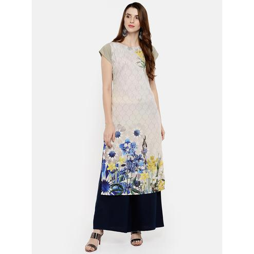 Ahalyaa - Off White Colored Casual Digital Printed Crepe Kurti