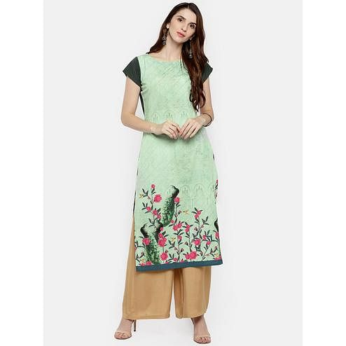 Ahalyaa - Pista Green Colored Casual Digital Printed Crepe Kurti