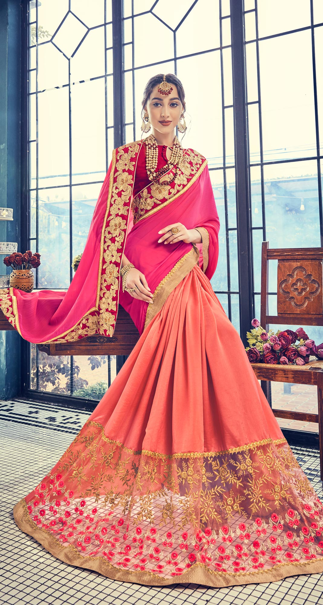Charming Orange - Pink Embroidered Half - Half Saree