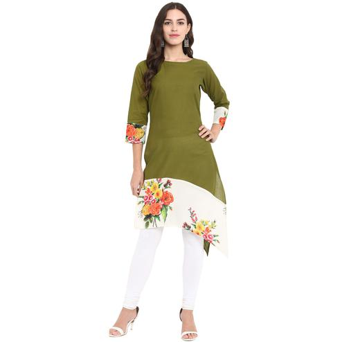 Ahalyaa - Olive Green Colored Casual Digital Printed Cotton Kurti