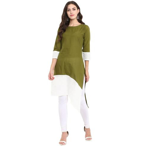 Ahalyaa - Green Colored Casual Solid Cotton Kurti