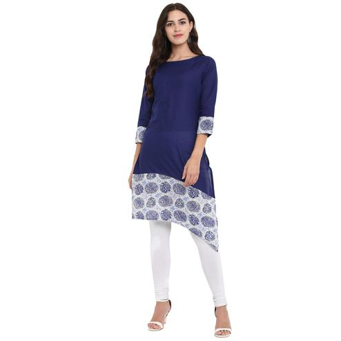 Ahalyaa - Blue Colored Casual Printed Cotton Kurti