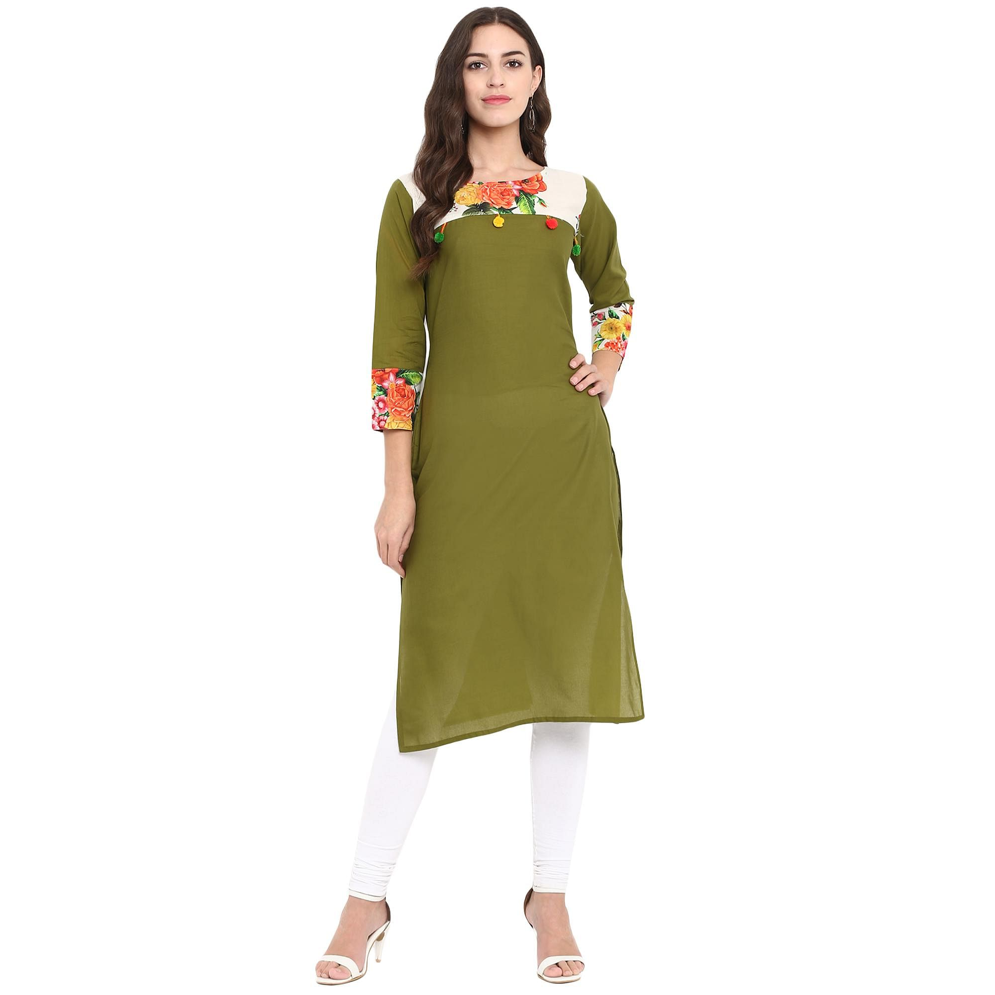 Ahalyaa - Green Colored Casual Digital Printed Cotton Kurti