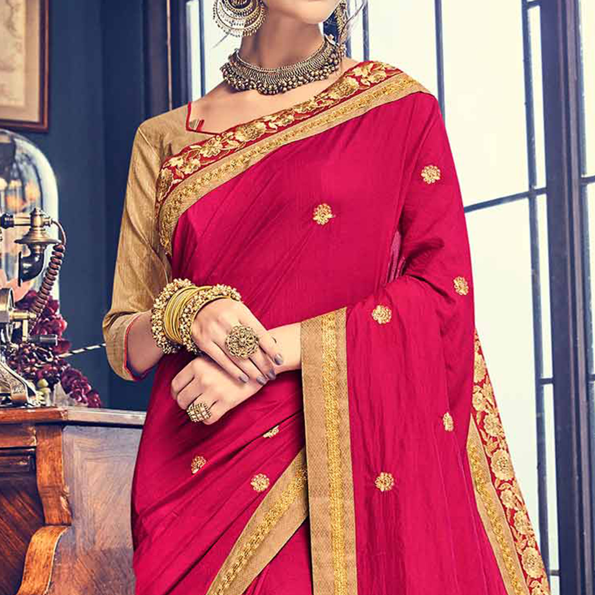 Elegant Magenta Pink Embroidered Designer Saree