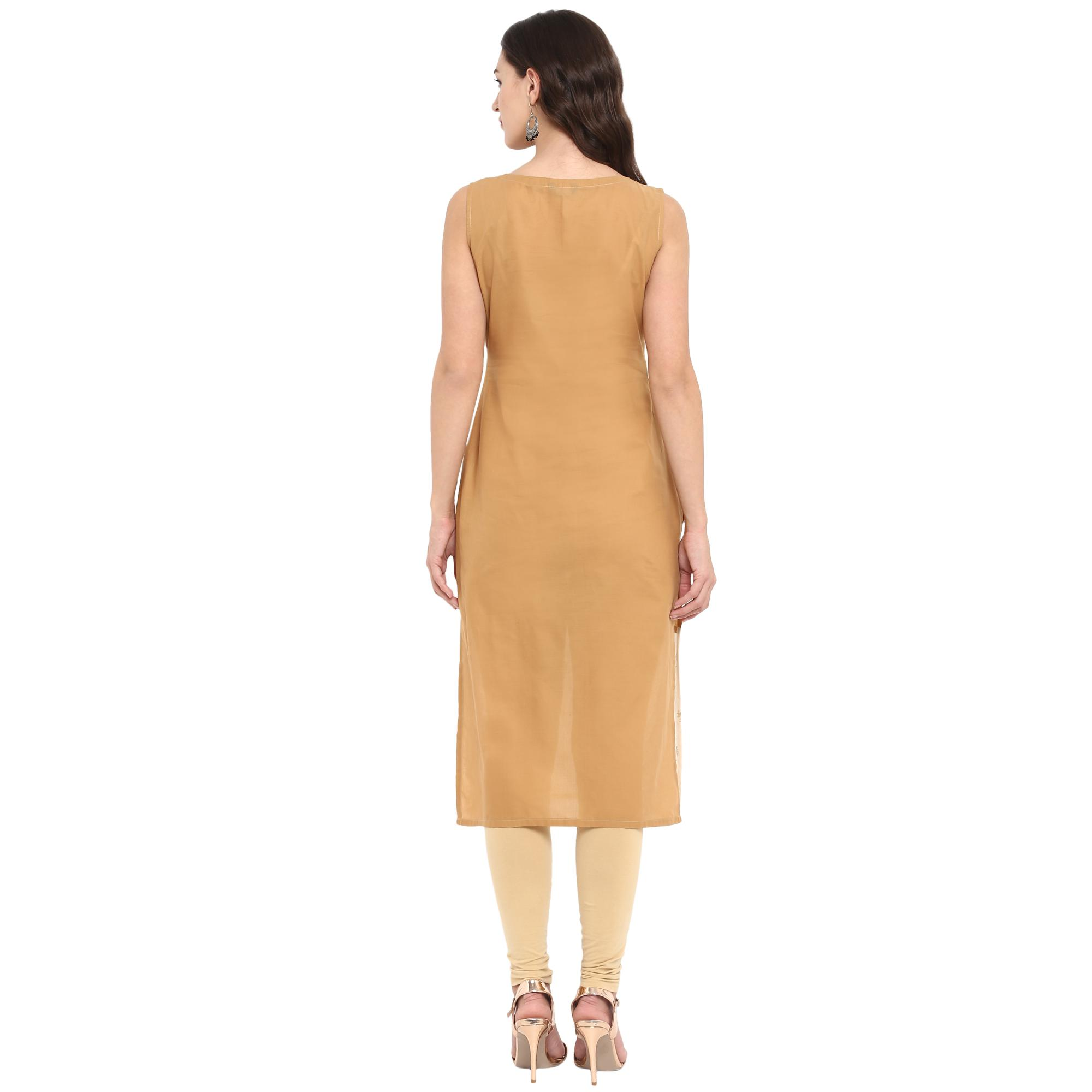 Ahalyaa - Beige Colored Casual Foil Printed Cotton Kurti