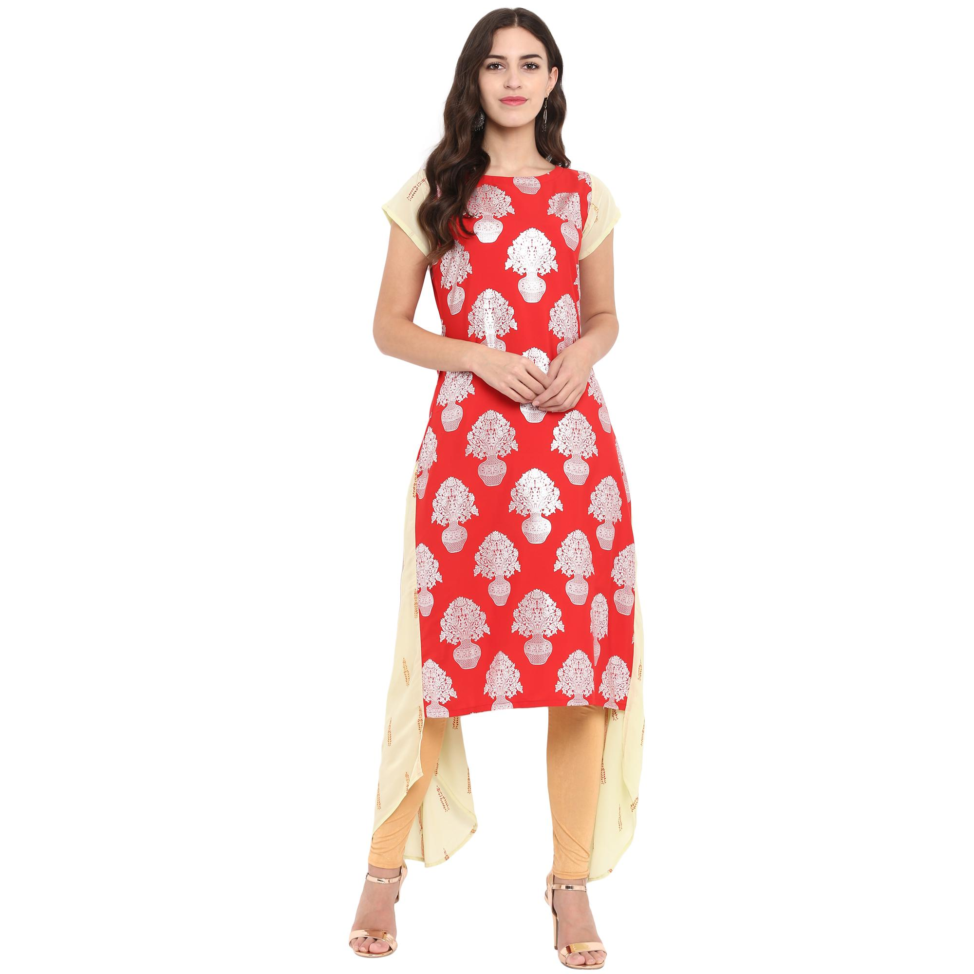 Ahalyaa - Red Colored Casual Foil Printed Crepe-Georgette Kurti