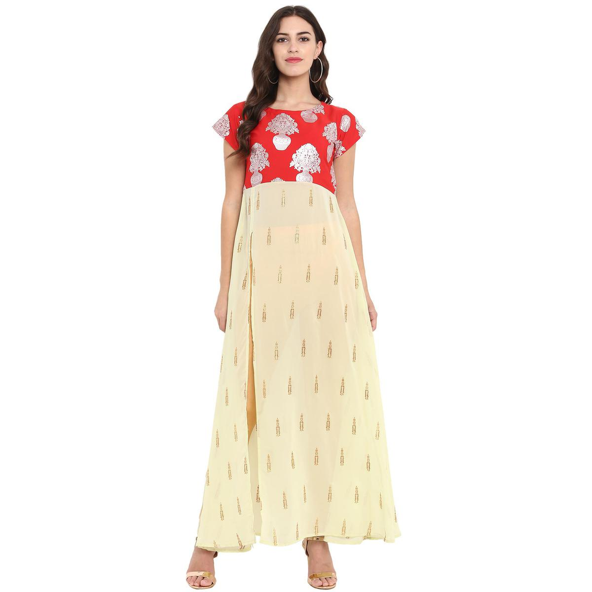 Ahalyaa - Red-Yellow Colored Casual Foil Printed Crepe-Georgette Kurti