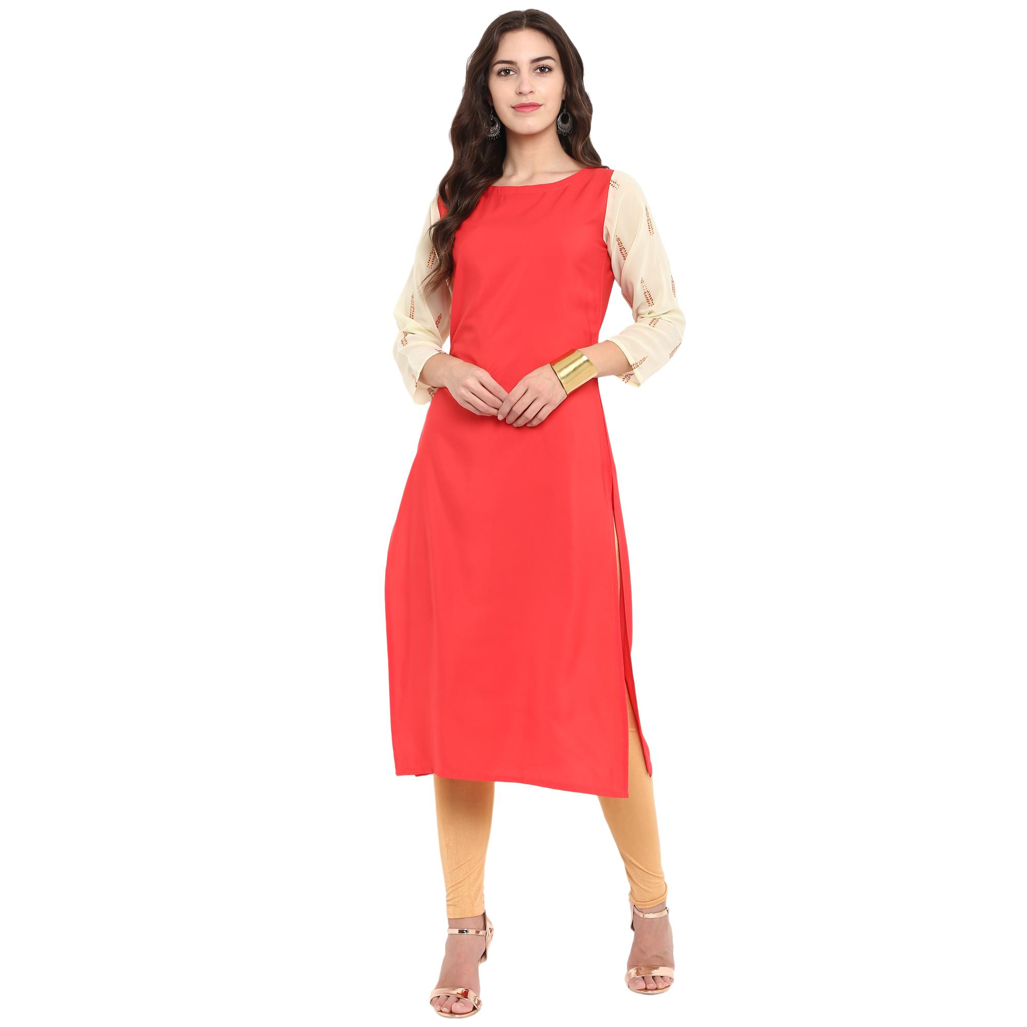Ahalyaa - Red Colored Casual Foil Printed Georgette Kurti