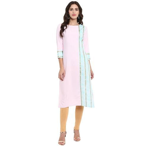 Ahalyaa - Pink Colored Casual Fixed Glitter Crepe Kurti